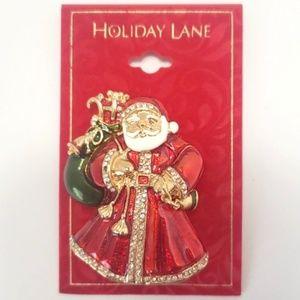NEW Santa Claus Brooch Pin Christmas Enamel Gold